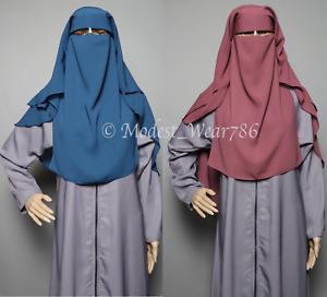 Saudi Style Muslim Women Niqab Burqa Veil Hijab Three Layer Korean Chiffon Black