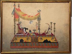 Original Antique Will R Barnes EGYPT Parade Float Design & Costume PAINTING