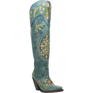 NEW Ladies Dan Post Flower Child Turquoise Blue Knee High Western Fashion Boots