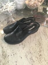 ROMIKA Womens size 9 40 Leather  Black Clog Mule Shoes anti-shock soles