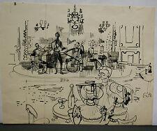 Dessin Original Encre Claude Schürr (1921-2014) Concert 1960 SHU9