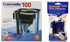 CASCADE 100 AQUARIUM POWER FILTER PACKAGE. WITH 3PK CARTRIDGES $39.99 VALUE.