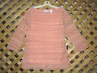JH Collectibles Peach & Green Stretch Polyester Blend Lace Tunic Top Size L NEW