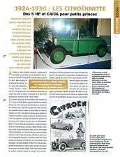 Citroën les Citroënnette 5 HP 1 C4/C6 Firme Ratier 1930 Car Auto FICHE FRANCE