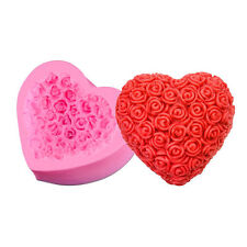 New 3D Silicone Mold Mould Rose Flower Heart Flexible For Handmade Soap Candy