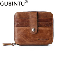 Men Leather Cowhide Wallet Zipper Credit Card Checkbook ID Holder Square Purse