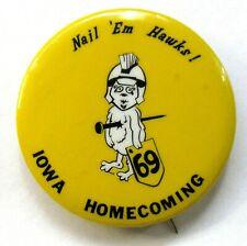 "1969 IOWA HOMECOMING  football 2"" pinback button ^"
