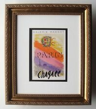 "Amazing Marc CHAGALL Antique Exhibition Poster ""Paris Rainbow"" SIGNED Framed COA"