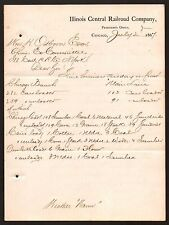 1867 Letter Illinois Central Railroad Co signed by President Chicago Letterhead
