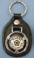 Vintage White Dodge CHALLENGER Steering Wheel Black Leather Keyring Fob