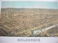 MELBOURNE 1882 - BIRDSEYE VIEW OF MELBOURNE IN COLOUR