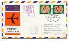 FFC 1973 Lufthansa PRIMO VOLO LH 618 - Dusseldorf Tel Aviv in Israele