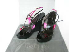 NEW Ladies ALEXANDER McQUEEN Designer Black Red Leather Shoes Sandals UK 7 EU 40