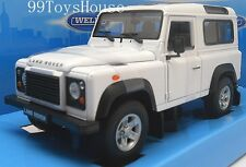 1/24 Welly Diecast Model Car LAND ROVER DEFENDER WHITE New !