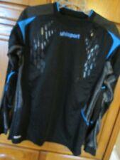 mens black w/blue uhlsport M padded elbows & waist l/s shirt soccer