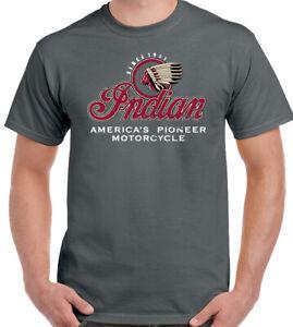 Indian American Motorcycle T-Shirt Biker Motorbike Bikie Distressed Tee Top