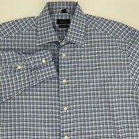 Barneys New York Mens 120's 2 Ply Dress Size Size 16.5 Blue Gingham Plaid Button