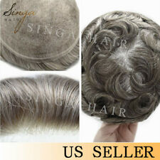 Full Swiss Lace Mens Toupee Natural Hairline Human Hair System Replacement Piece