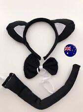 Lady Kid Child Kitty Cat black Ear Costume tail Party Hair head band Prop set