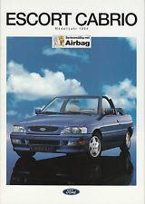 Ford Escort cabriolet Mk V 1,4i/1, 6i/1, 8i 16v clx/xr3i folleto/brochure/Informationsheft
