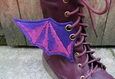 Steampunk Boot Wings Cosplay Bat Wings Goth Shoe Accessory Eyelets Purple Pink