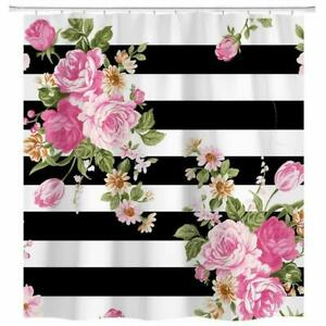 """Black and White Stripe Floral Shower Curtain Bathroom Decor with Hooks 71""""x71"""""""