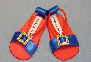 18 Inch Doll Shoes - Red and Blue Sandals handmade in the USA by Jane Ellen