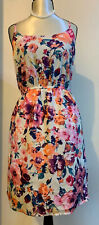 FOREVER 21 PRETTY CREAM FLORAL SUMMER TEA DRESS SIZE M NEW WITH TAGS