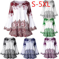 Women Lady Plus Size Printed Tunic Tops Flare Long Sleeve Blouses Loose T-Shirt