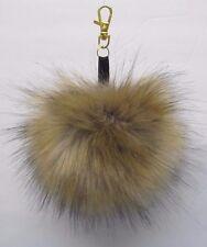 Multi Color/Gray Fluffy Pom-Pom Faux Fox Fur XLarge Keychain Gift Hat 5.5-6.0 in