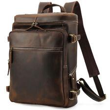 """Vintage Leather Backpack 16"""" Laptop Camping Travel Bag School Bookbag Daypack"""