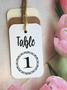 Wedding Table Number Tags Name Cards Vintage Kraft PATTN201