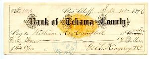 1876.  Red Bluff, California.    Bank of Tehama County.   Revenue Bank Check.