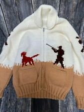 Vintage 50s Cowichan sweater Nintendo inspired Duck Hunting scene Xl
