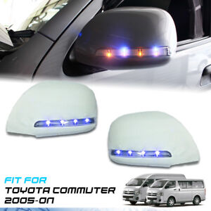 WHITE COVER LED BLUE ORANGE ELECTRIC MIRROR FOR TOYOTA HIACE COMMUTER 2005-2018
