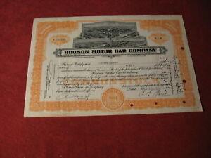 1952 Hudson Stock Certificate Old Original Display Hudson Motor company