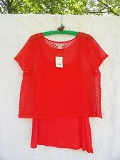 Lucky Brand NEW W Tags Lace Knit Top Lined W Tank Misses XL Orange Retail $45.50
