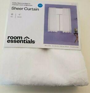 "Room Essentials Sheer Rod Pocket White Crinkle Panel 40"" x 63"" New"