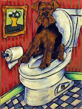 Welsh Terrier in the bathroom dog Art 4x6 Glossy Print