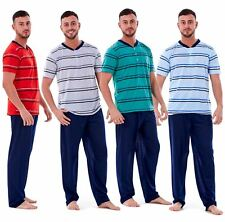 Brand New Mens Pyjama Sets Striped V Neck Rich Cotton Lounge Sleepwear Soft PJ's