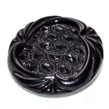 beau bouton ancien en verre noir attache laiton 18mm button