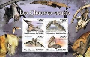 BATS Noctule/Horseshoe/Corben/Grey Long-Eared Stamp Sheet #1 of 5 (2011 Burundi)