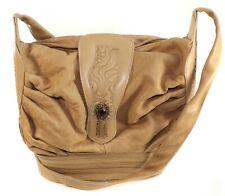 Viva Of California Vintage Purse Tan Brown Handbag Shoulder Bag With Gem Tassels