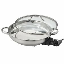 Aroma Gourmet Series Electric Skillet, Stainless Steel AFP-1600S New