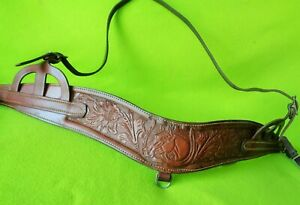 Terrific Vintage Antique Floral & HorseHead TOOLED Breast Collar~USE~Collect~NR