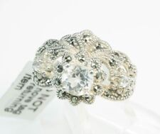 GEMS TV / White Topaz Marcasite & Sterling Silver / Ring / Size 7(5g) New W/ Tag