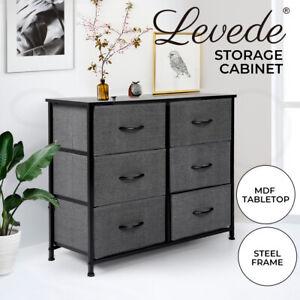 Levede Storage Cabinet Tower Chest of Drawers Dresser Tallboy 6 Drawer Dark Grey