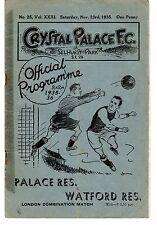 Crystal Palace v Watford Reserves Programme 23.11.1935