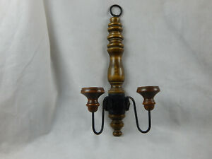 70'S HOMCO~Home Interiors Double Wood & Wrought Iron Wall Sconce
