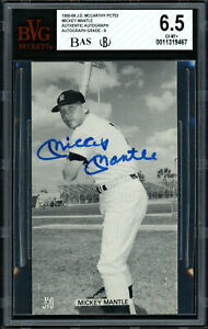 Mickey Mantle Autographed McCarthy Postcard Auto 9 Card 6.5 Beckett 11319467